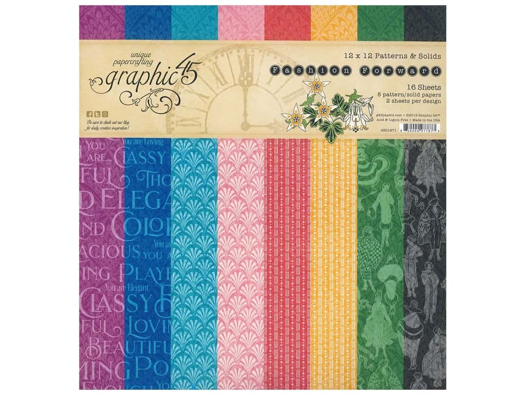 Graphic 45 Collection Fashion Forward Paper Pad 12 in. x 12 in.