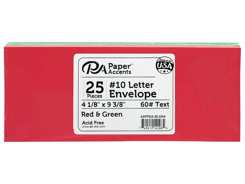 Paper Accents Envelope #10 Letter 25 pc Red & Green