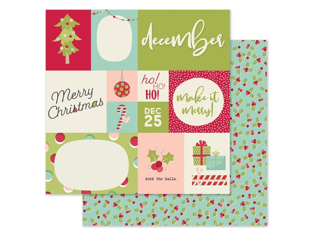 Simple Stories Collection Best Year Ever Paper 12 in. x 12 in. December (25 pieces)