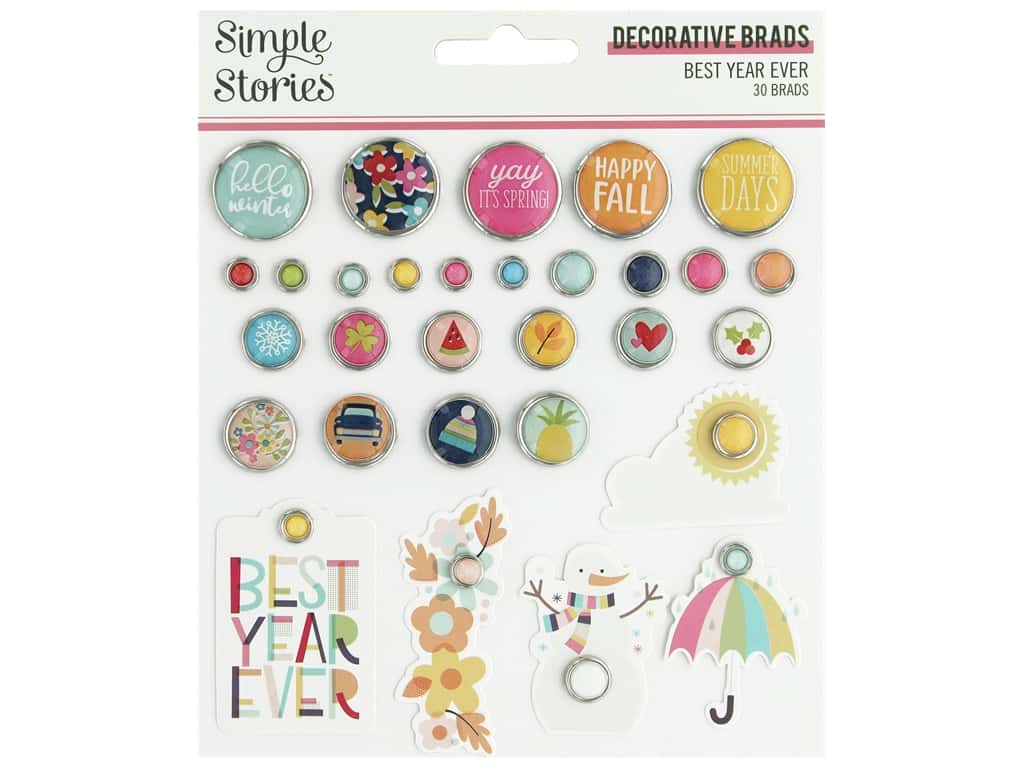 Simple Stories Collection Best Year Ever Decorative Brads