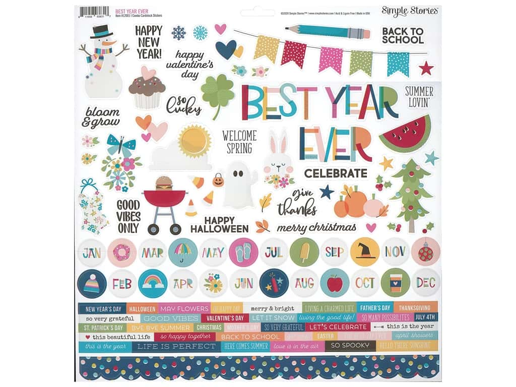 Simple Stories Collection Best Year Ever Sticker Combo 12 in. x 12 in. (12 pieces)