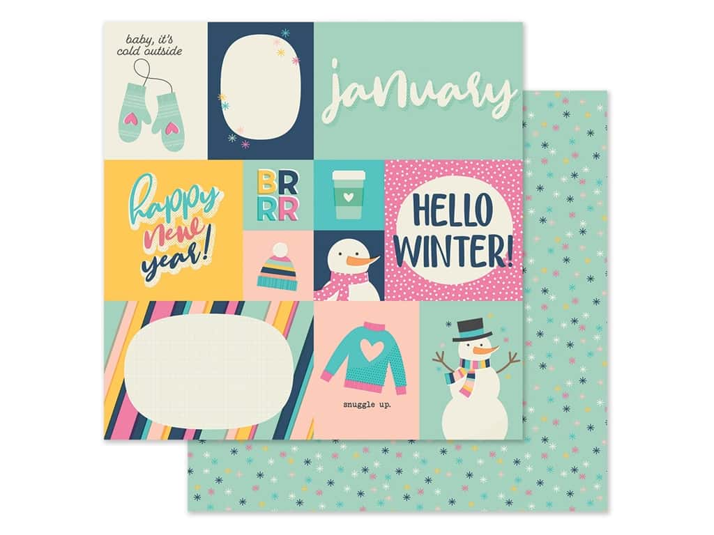 Simple Stories Collection Best Year Ever Paper 12 in. x 12 in. January (25 pieces)