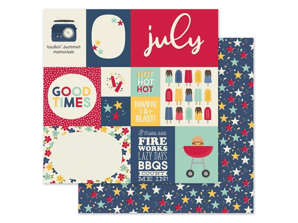 Simple Stories Collection Best Year Ever Paper 12 in. x 12 in. July (25 pieces)