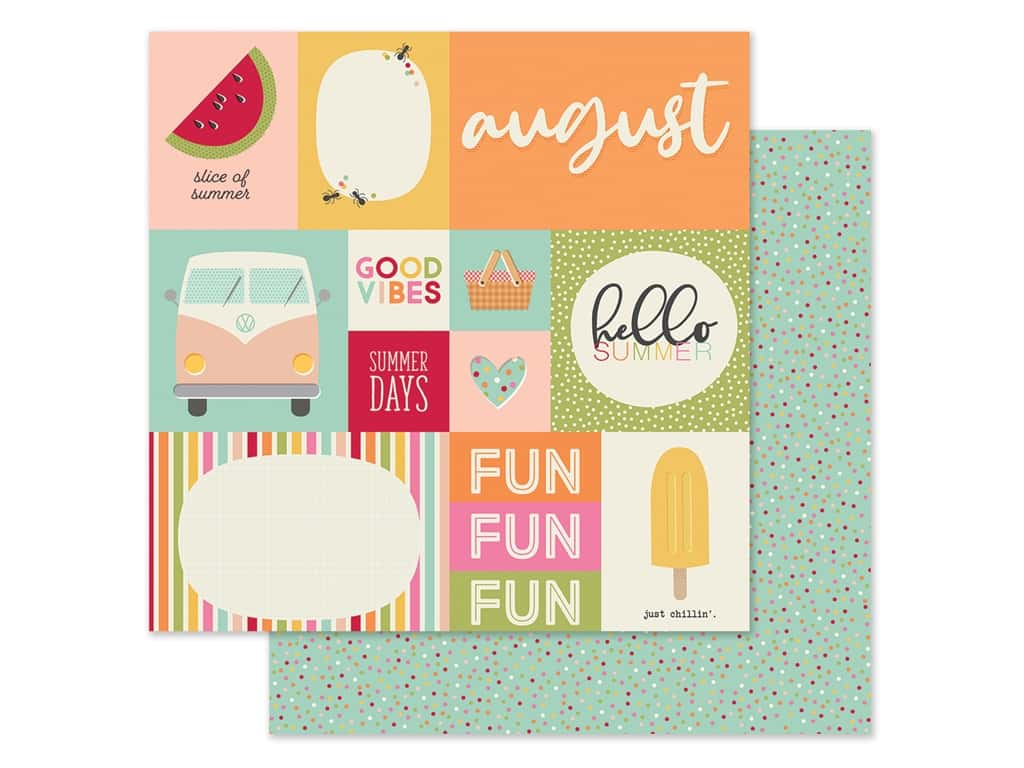 Simple Stories Collection Best Year Ever Paper 12 in. x 12 in. August (25 pieces)