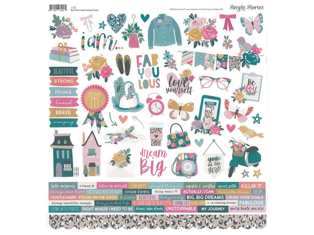 Simple Stories Collection I Am Sticker Combo 12 in. x 12 in. (12 pieces)