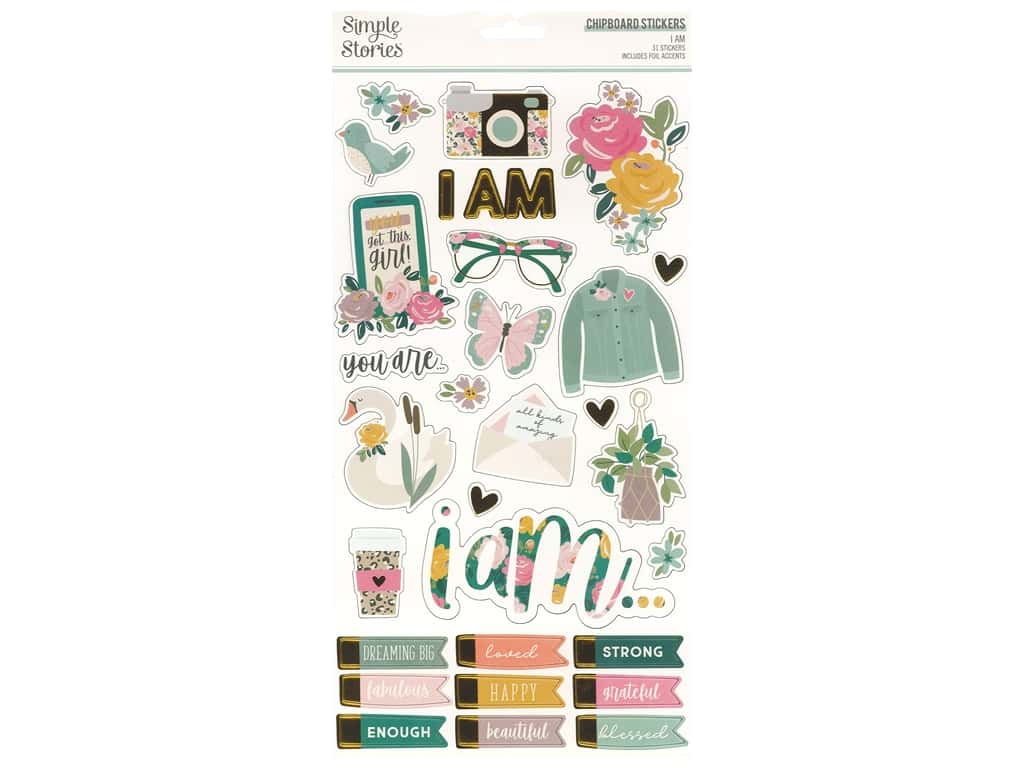 Simple Stories Collection I Am Sticker Chipboard 6 in. x 12 in.