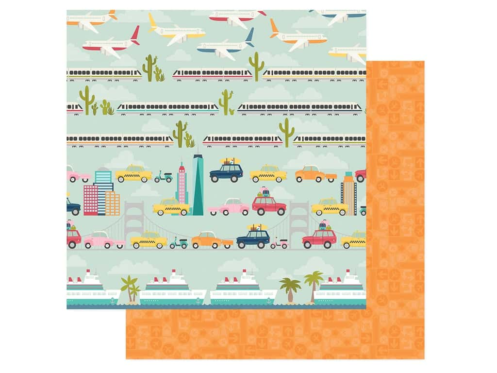 Simple Stories Collection Going Places Paper 12 in. x 12 in. Enjoy The Ride (25 pieces)