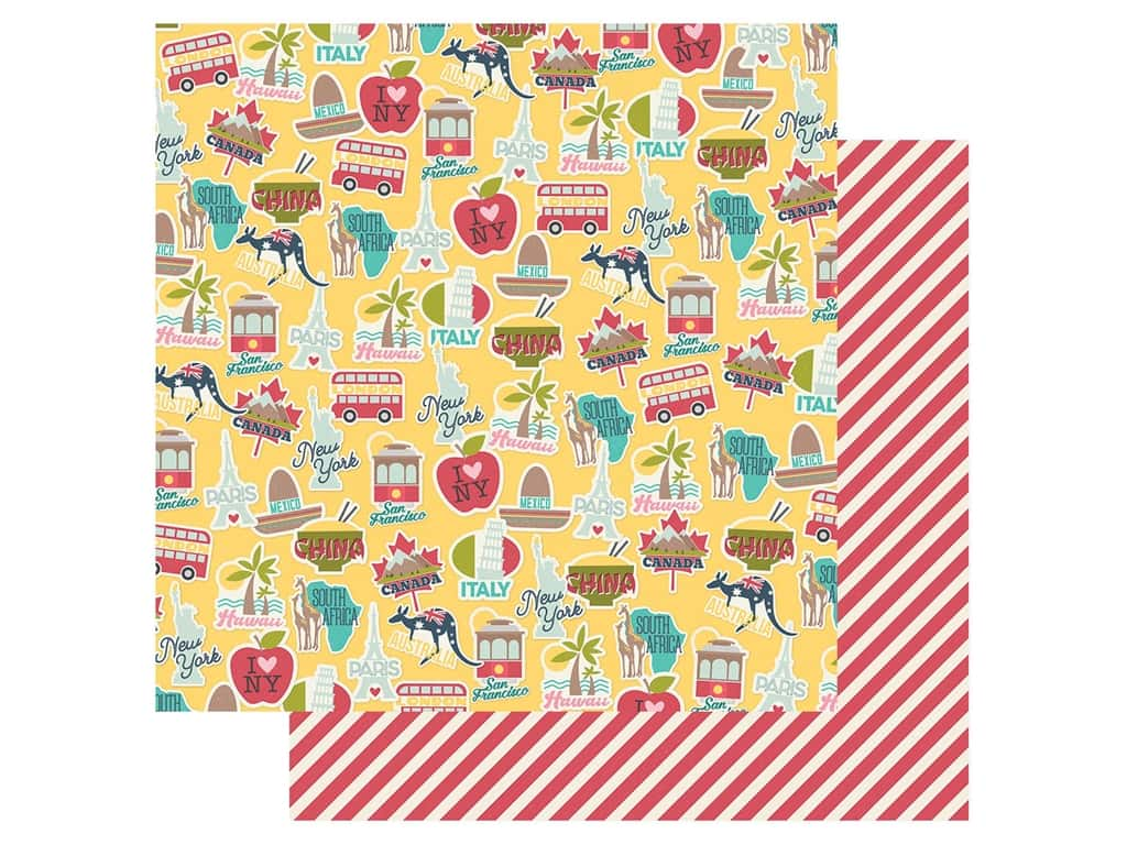 Simple Stories Collection Going Places Paper 12 in. x 12 in. Around The World (25 pieces)