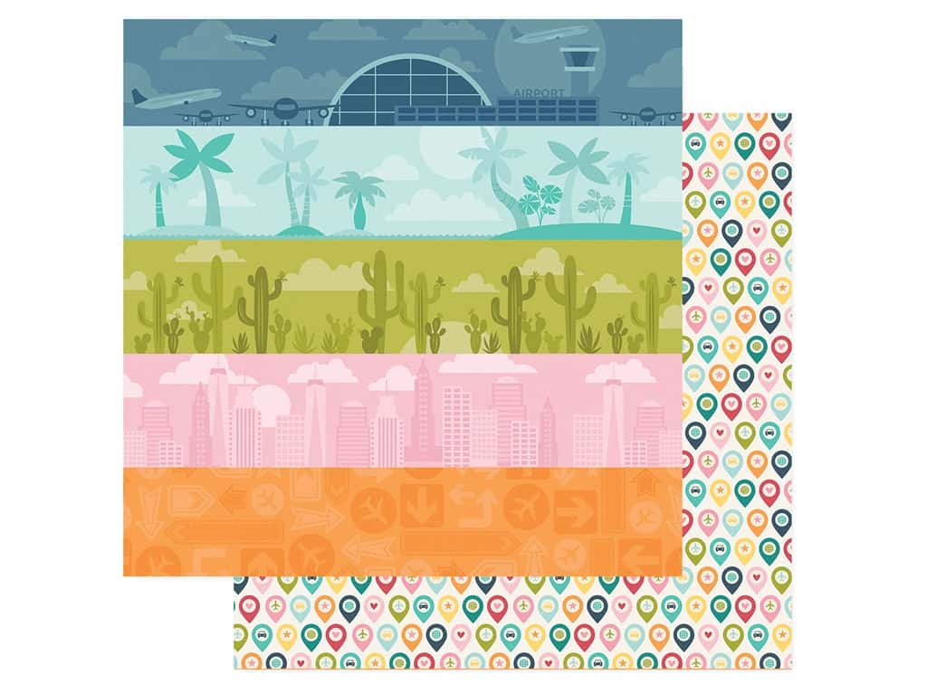 Simple Stories Collection Going Places Paper 12 in. x 12 in. Detours (25 pieces)
