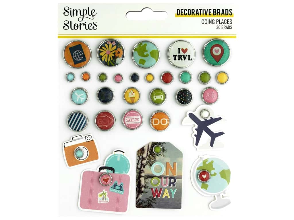 Simple Stories Collection Going Places Decorative Brads