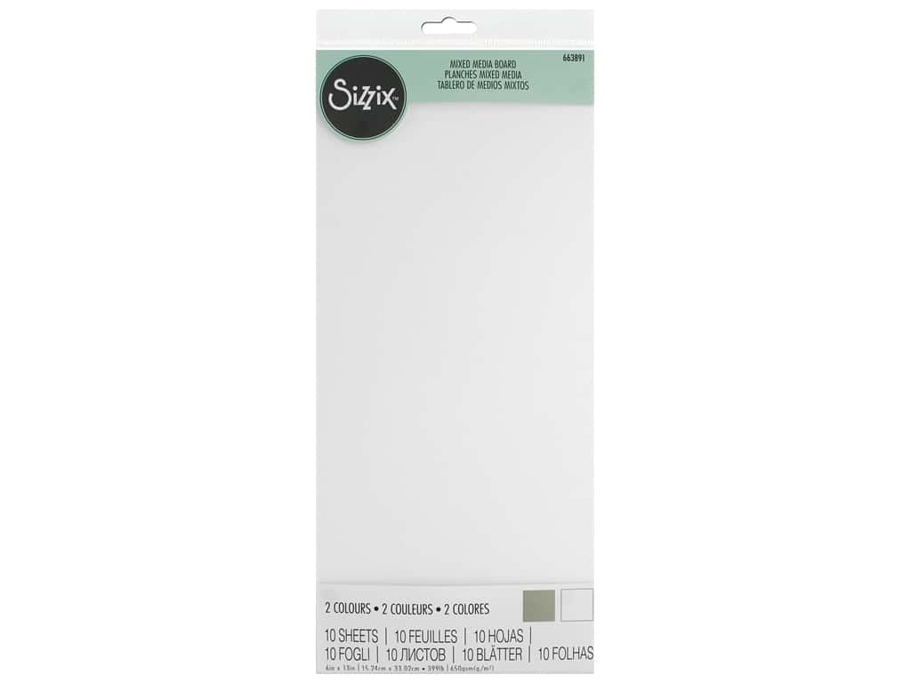 Sizzix Surface Mixed Media Board 6 in. x 13 in. White/Natural 10 pc