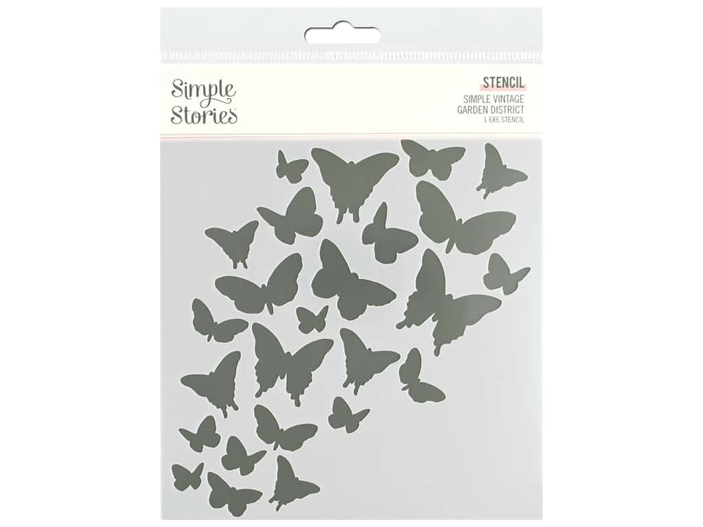 Simple Stories Collection Simple Vintage Garden District Stencil 6 in. x 6 in. Butterfly