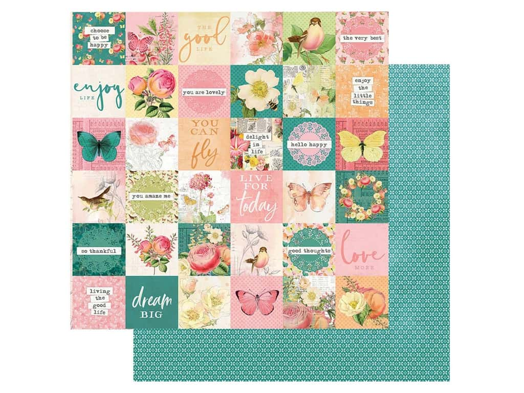 Simple Stories Collection Simple Vintage Garden District Paper 12 in. x 12 in. Elements 2 in. x 2 in. (25 pieces)