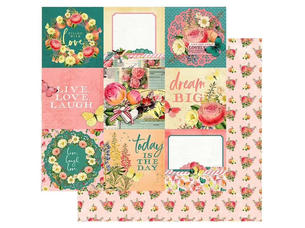 Simple Stories Collection Simple Vintage Garden District Paper 12 in. x 12 in. Elements 4 in. x 4 in. (25 pieces)