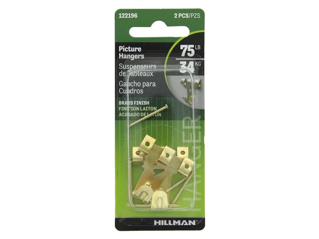 Hillman Professional Picture Hanger 75lb Brass 2pc