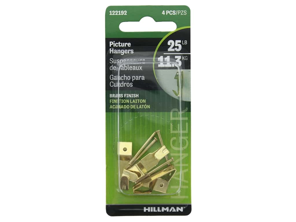 Hillman Professional Picture Hanger 25lb Brass 4pc