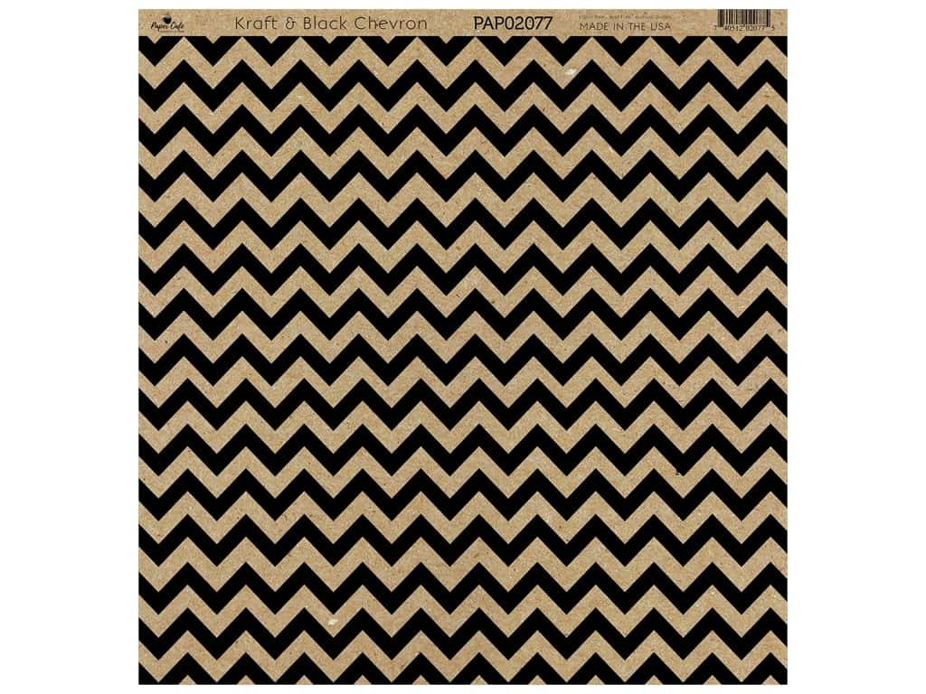 "Paper Cafe Cardstock 12""x 12"" Kraft & Black Chevron 15pc"