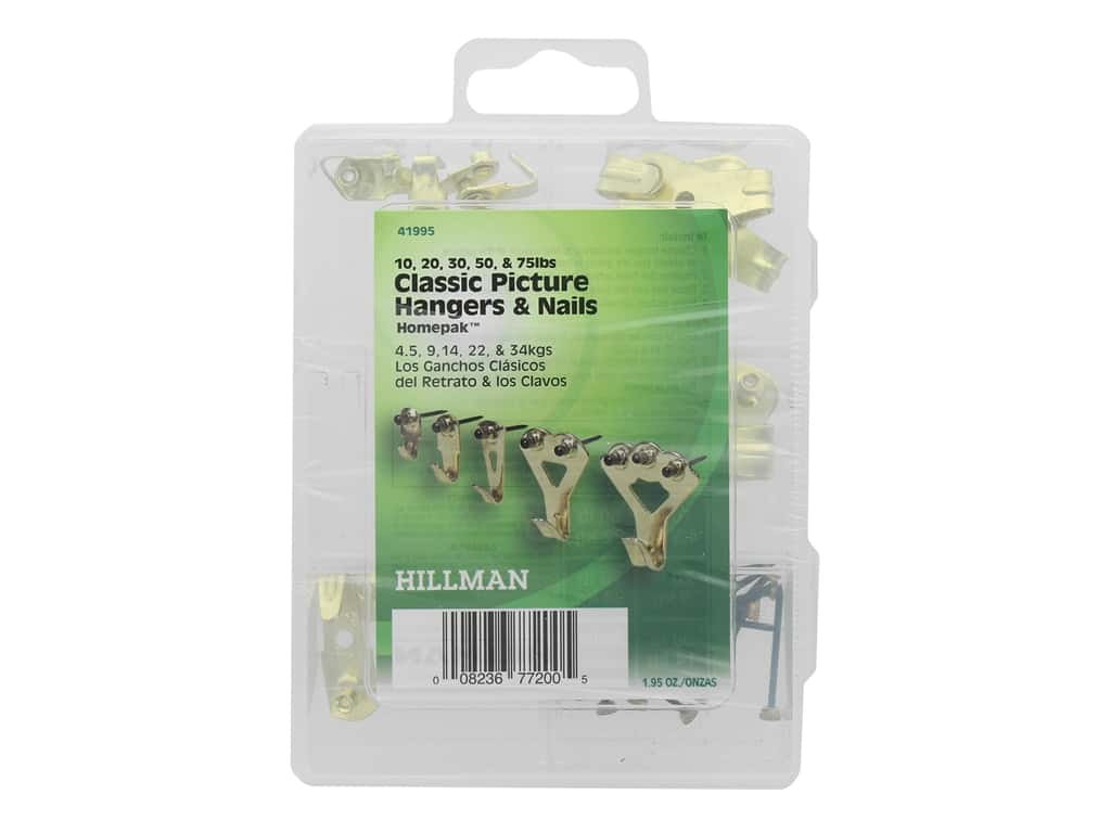 Hillman Classic Picture Hangers & Nails Brass