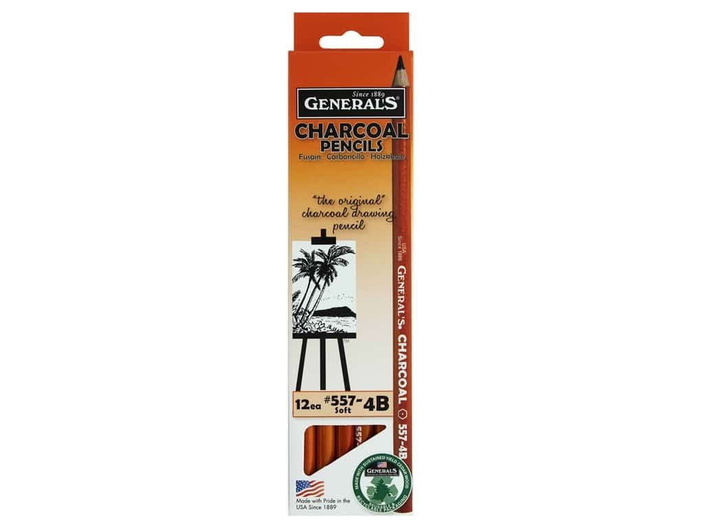 General's Charcoal Pencil 4B Soft (12 pieces)