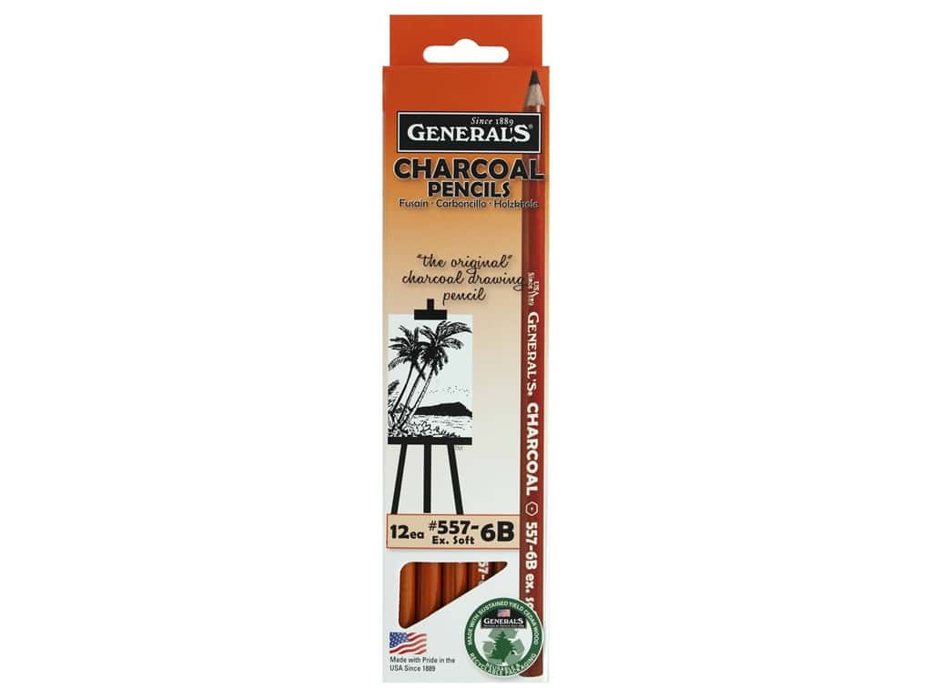 General's Charcoal Pencil 6B Extra Soft (12 pieces)