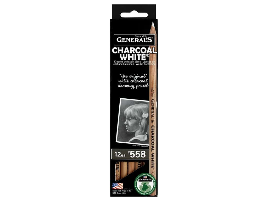 General's Pencil Charcoal Pencil White (12 pieces)