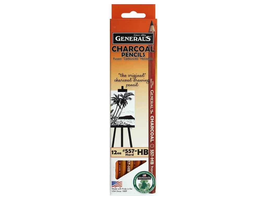 General's Charcoal Pencil HB Hard (12 pieces)