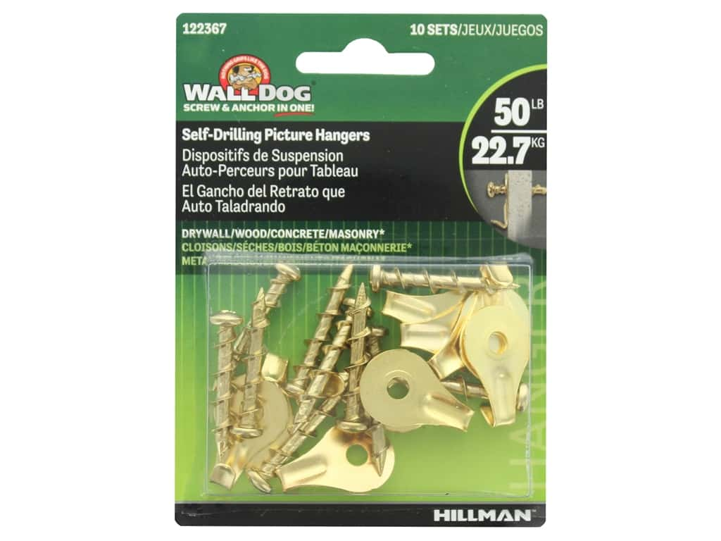Hillman Wall Dog Self Drilling Picture Hanger 50lb Brass 10pc