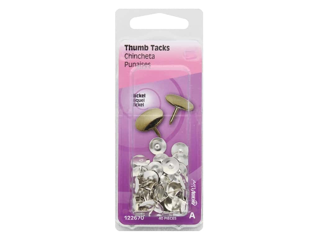 Hillman Thumb Tacks Nickel 40pc