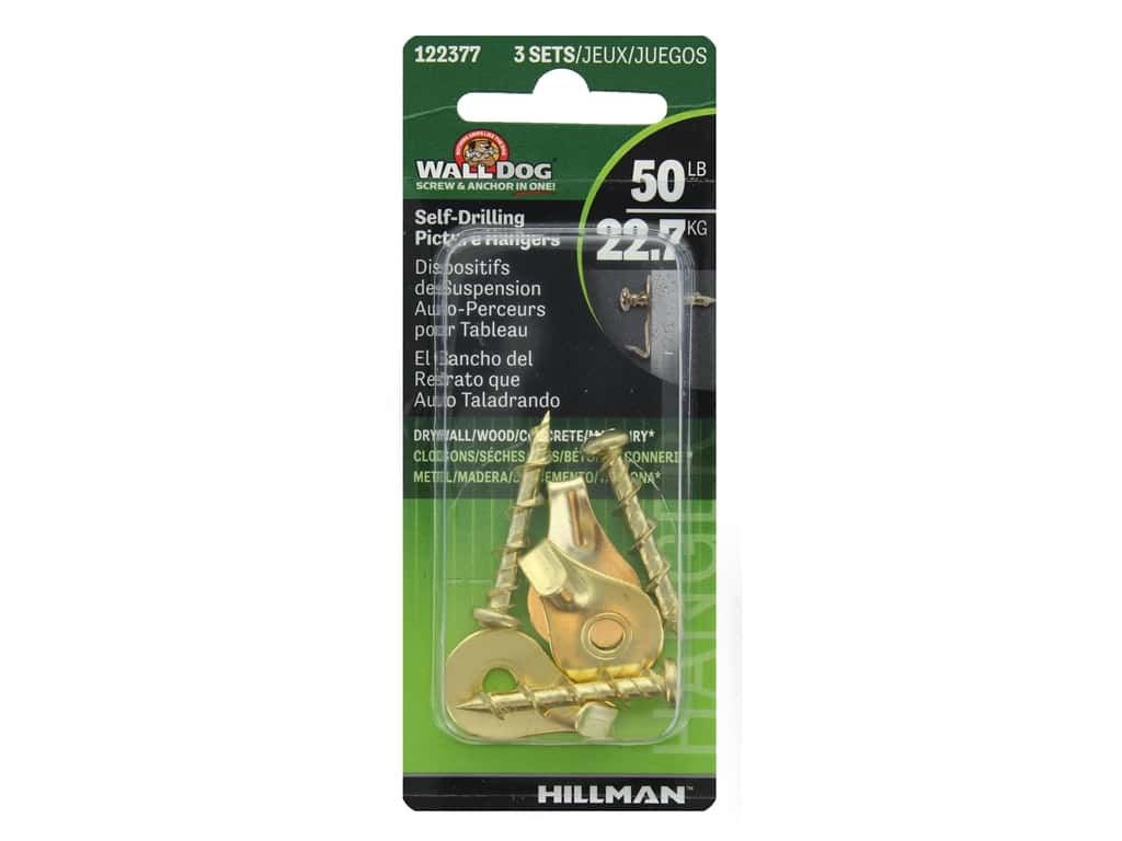 Hillman Wall Dog Self-Drilling Picture Hangers 50lb Brass 3pc