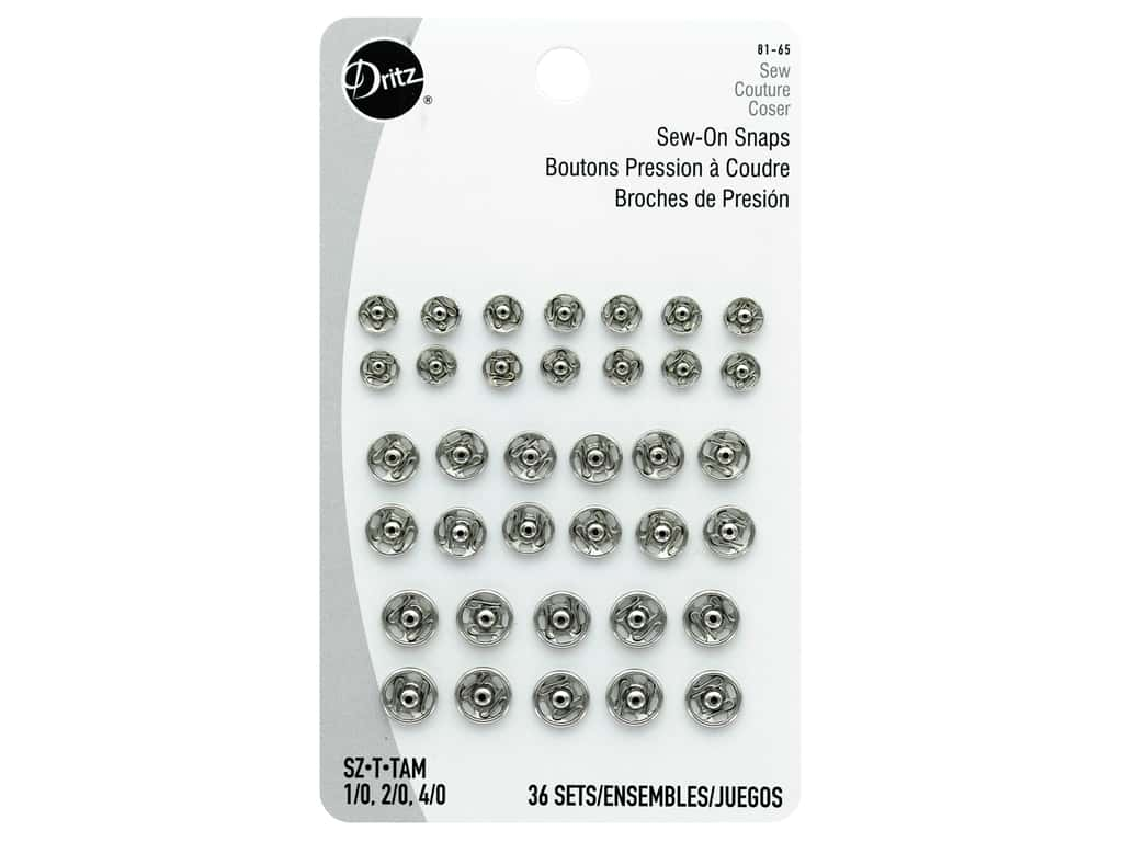 Dritz Sew-On Snaps Assorted Nickel 36 pc.