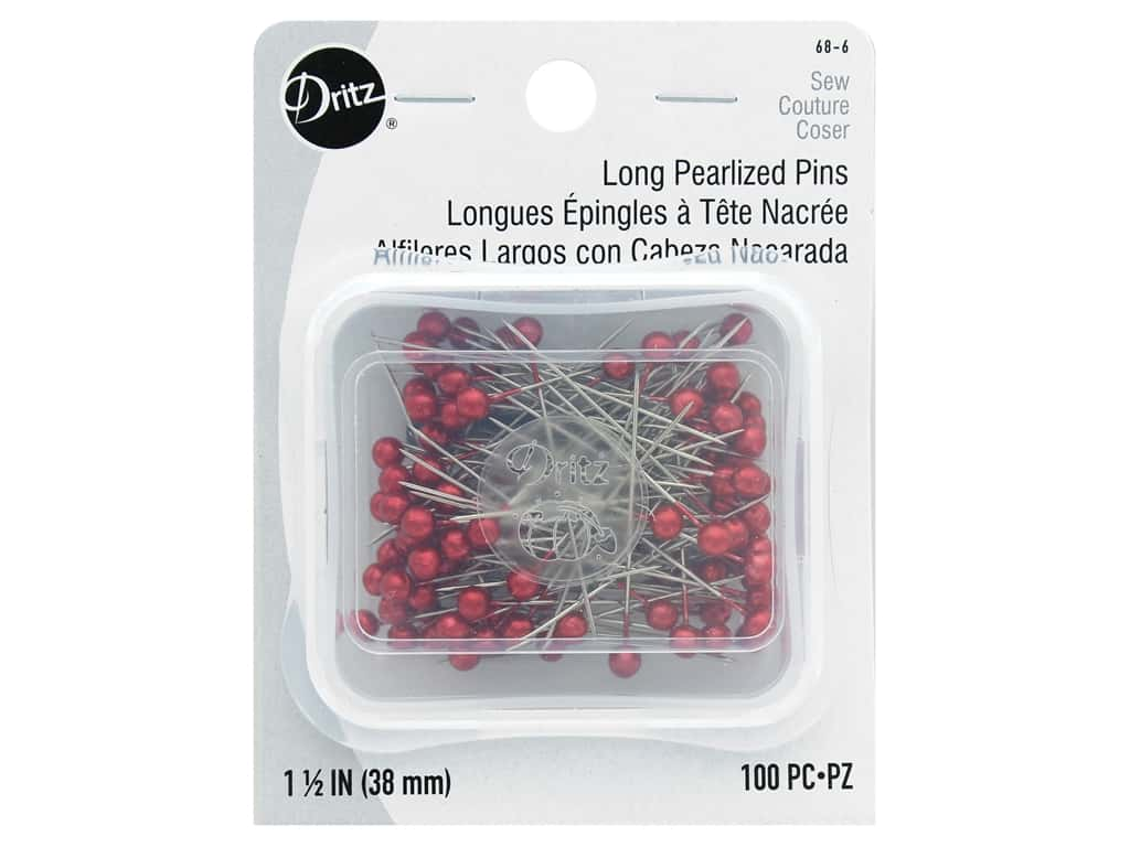 Dritz Long Pearlized Pins Size 24 100 pc. Red