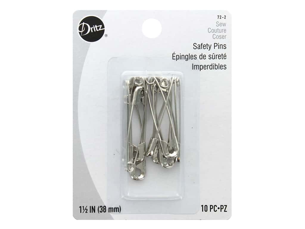 Dritz Safety Pins 1 1/2 in. Nickel 10 pc.