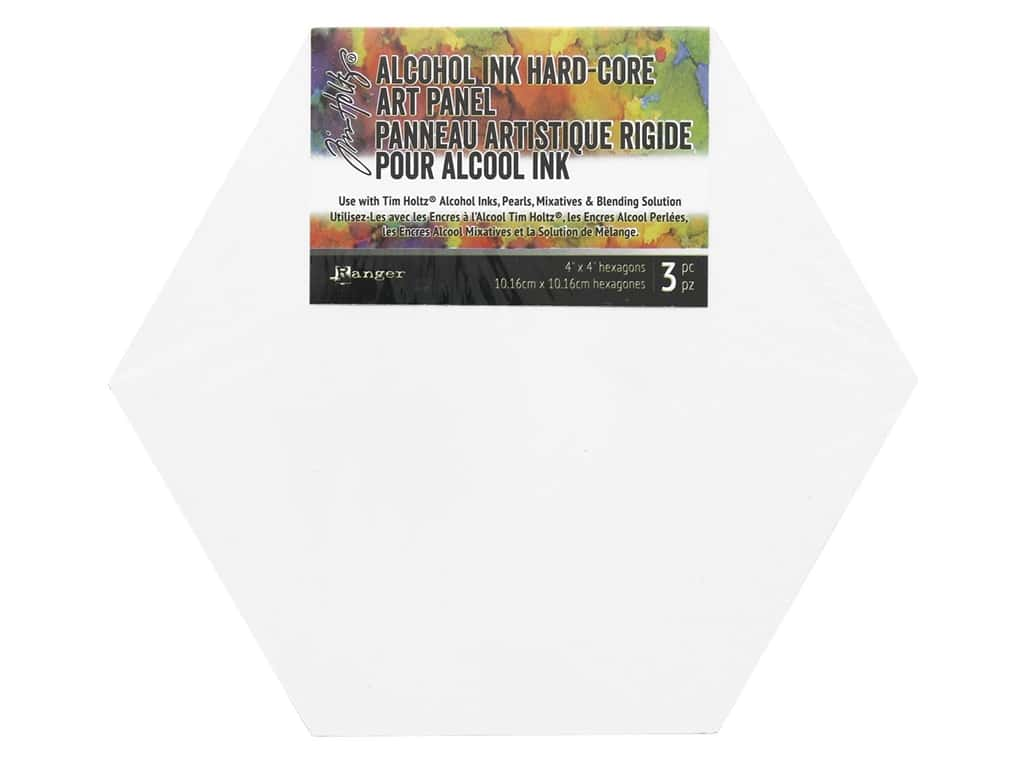 Ranger Tim Holtz Alcohol Ink Hard Core Art Panel 4 in. x 4 in. Hexagon 3 pc