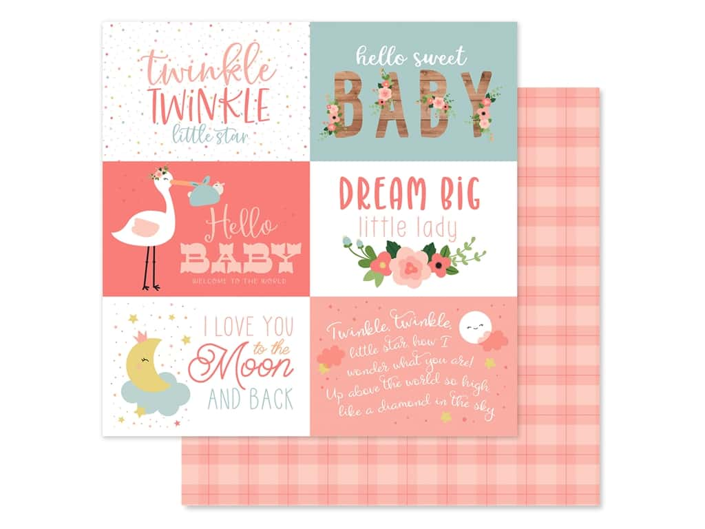 Echo Park Baby Girl Collection Paper 12 in. x 12 in. ournaling Cards 6 in. x 4 in. (25 pieces)