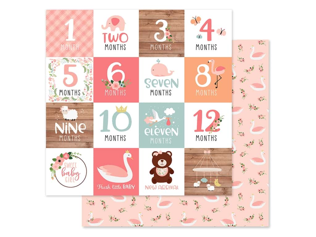 Echo Park Baby Girl Collection Paper 12 in. x 12 in. Milestone Cards (25 pieces)