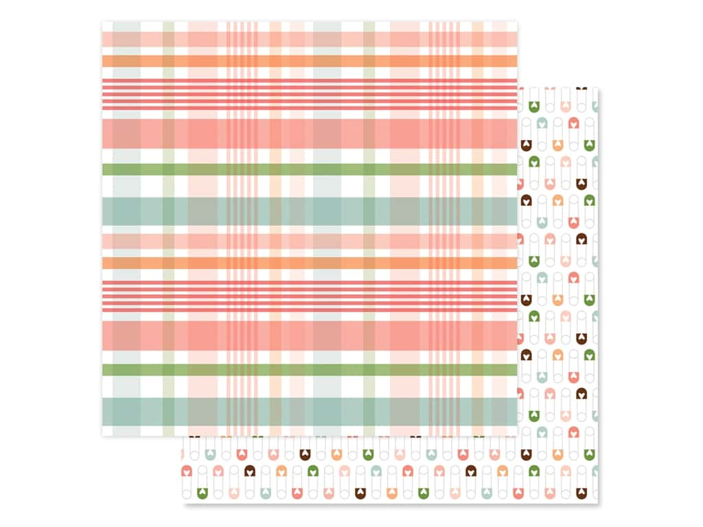 Echo Park Baby Girl Collection Paper 12 in. x 12 in. Plaid New Arrival (25 pieces)