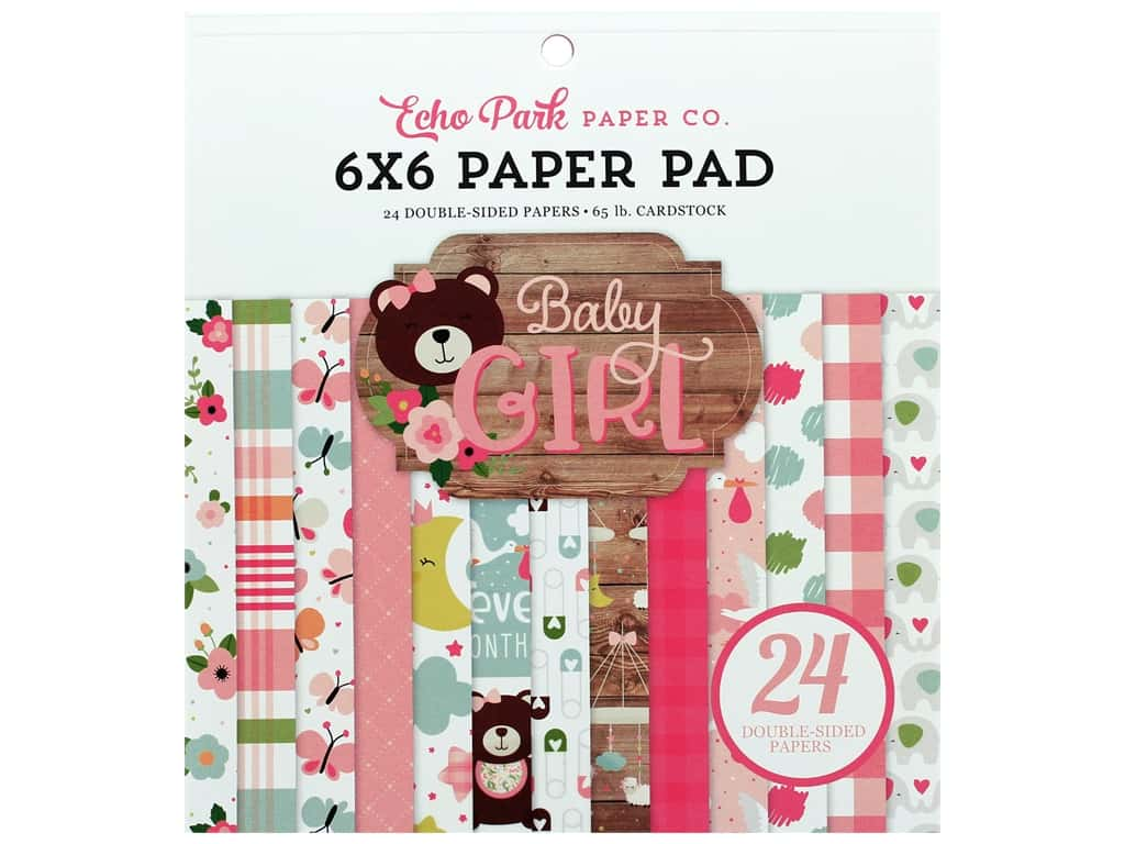 Echo Park Baby Girl Collection Paper Pad 6 in. x 6 in.