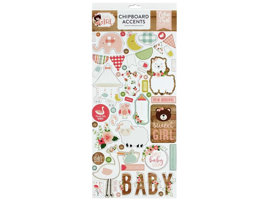 Echo Park Baby Girl Collection Chipboard 6 in. x 12 in. Accents