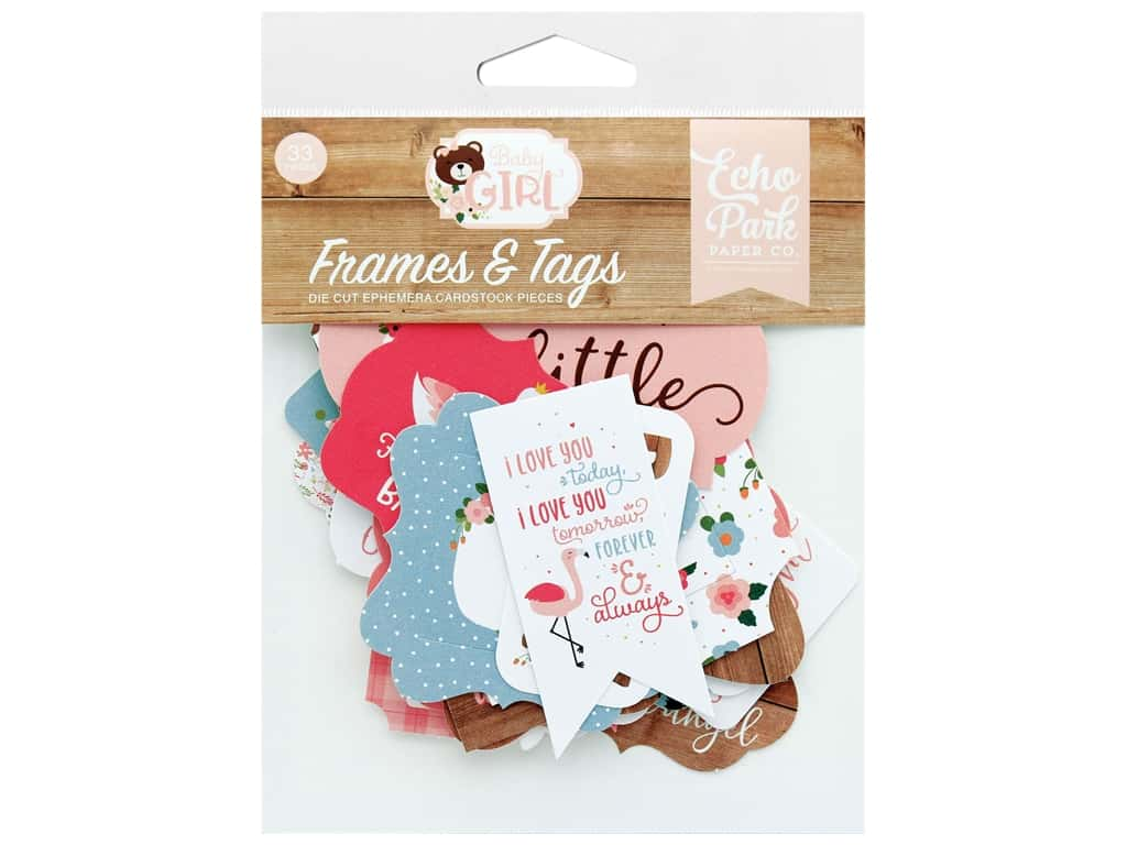 Echo Park Baby Girl Collection Frames & Tags