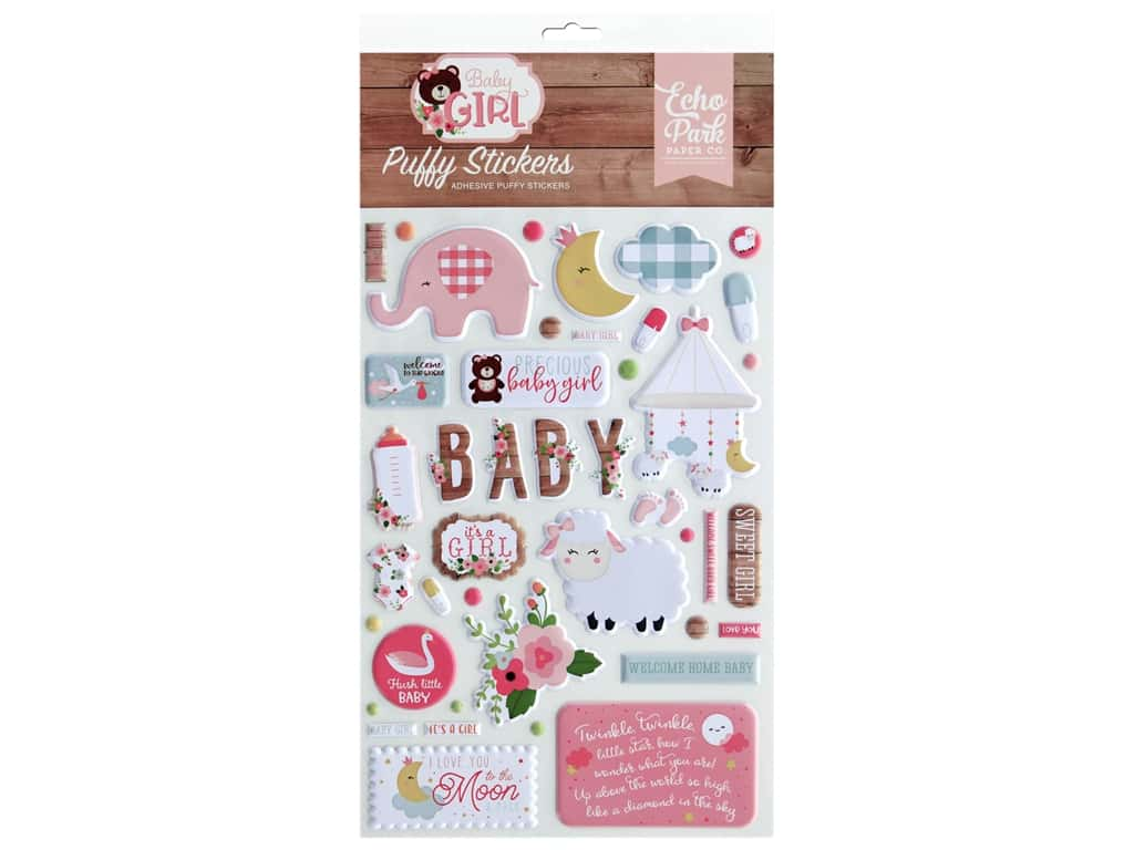 Echo Park Baby Girl Collection Stickers Puffy