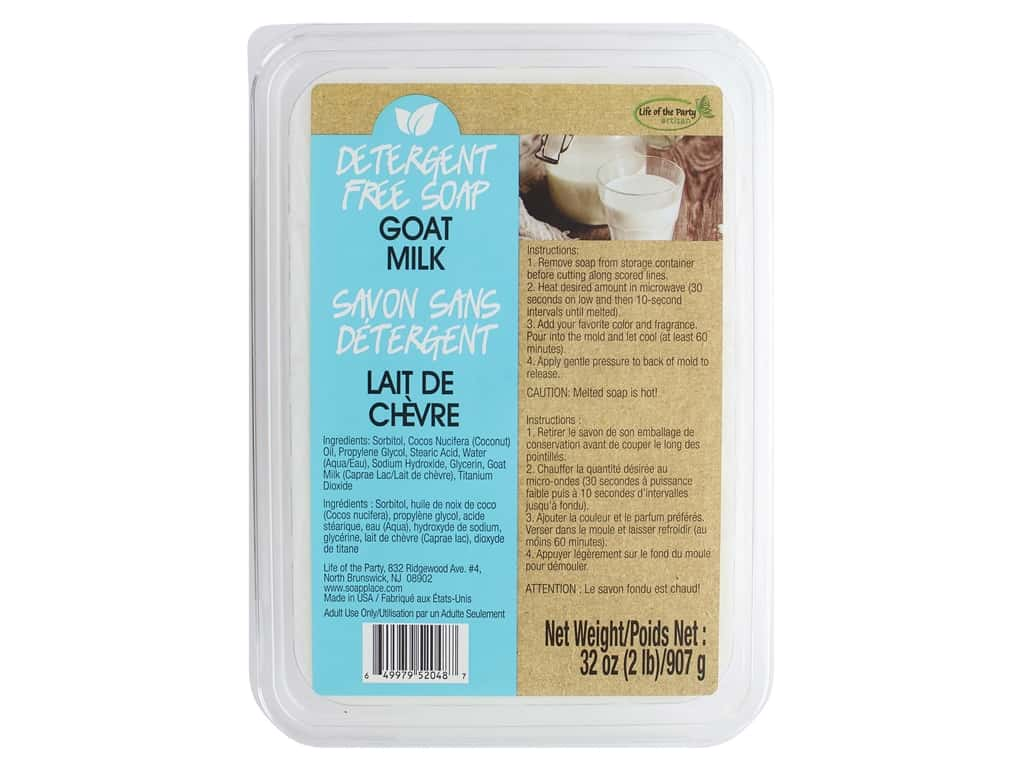 Life Of The Party Base Soap Detergent Free 2lb Goat Milk