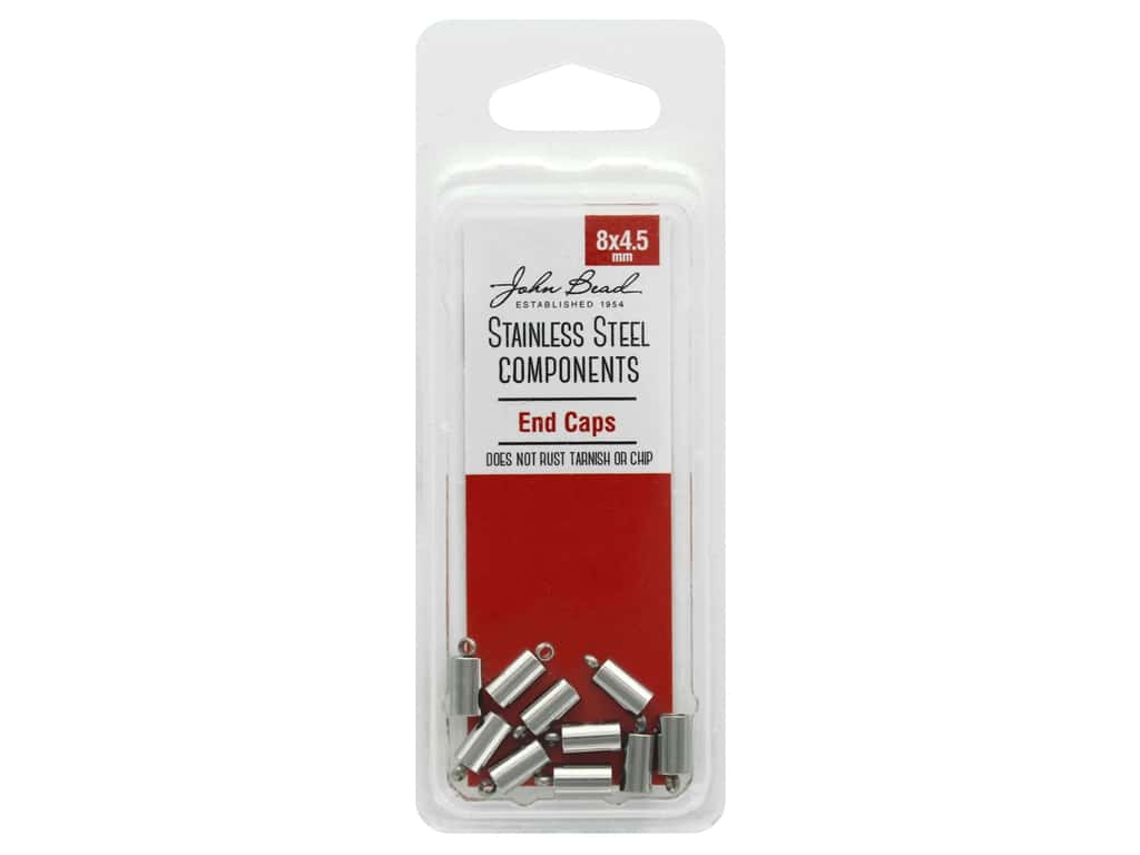 John Bead Findings Stainless Steel End Cap 8x4.5mm 10pc