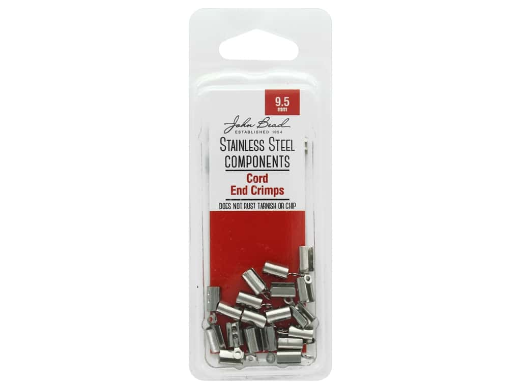 John Bead Findings Stainless Steel Cord End Crimp 9.5mm 20pc