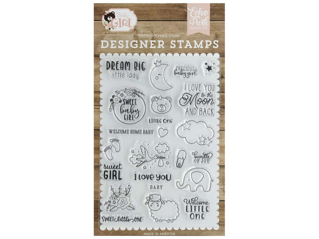 Echo Park Collection Baby Girl Stamp Set Dream Big Little Lady
