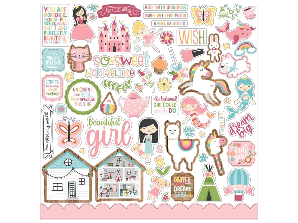 Echo Park Collection All Girl Sticker 12 in. x 12 in. (15 pieces)