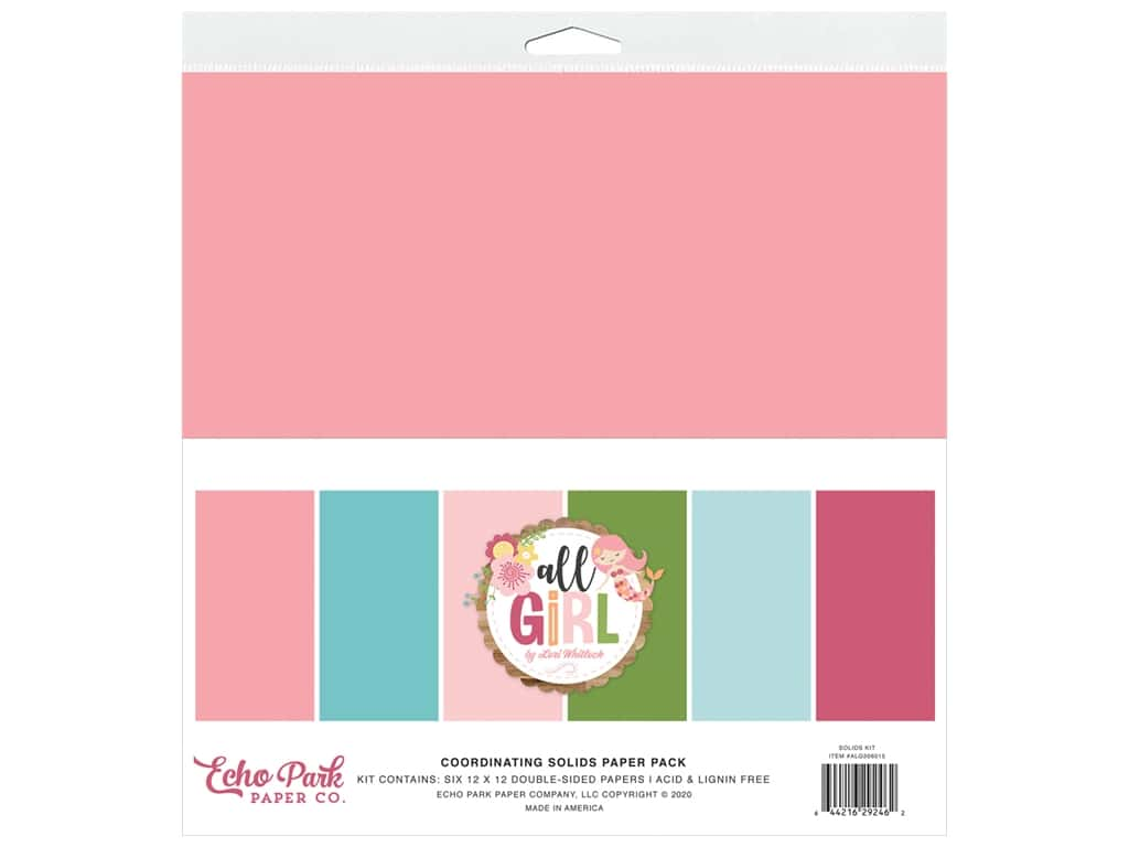 Echo Park Collection All Girl Solids Kit 12 in. x 12 in.