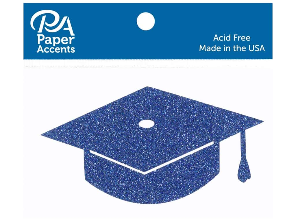 Paper Accents Glitter Shape Graduation Cap Jewel Blue 6pc (6 pieces)