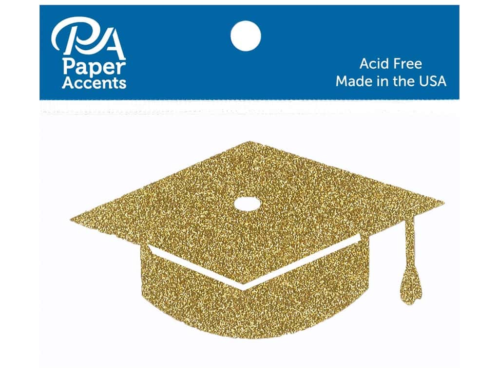 Paper Accents Glitter Shape Graduation Cap Gold 6pc (6 pieces)