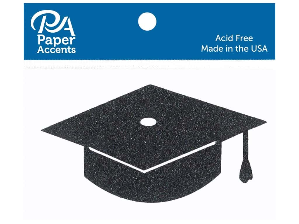Paper Accents Glitter Shape Graduation Cap Black 6pc (6 pieces)
