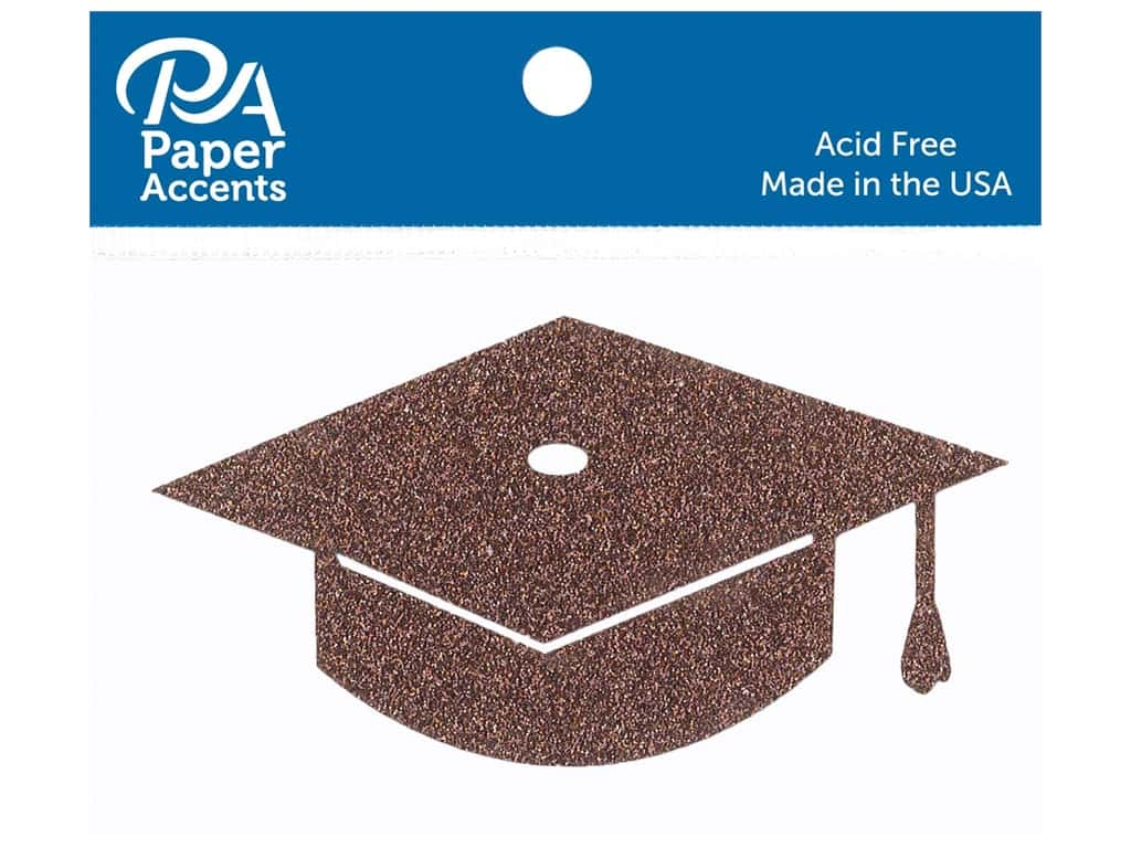 Paper Accents Glitter Shape Graduation Cap Bronze Copper 6pc (6 pieces)
